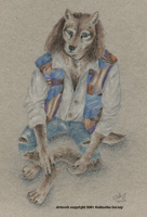 Anthro grey-brown wolf with long wavyy brown hair, seated, wearing a colourful patched vest and worn jeans.