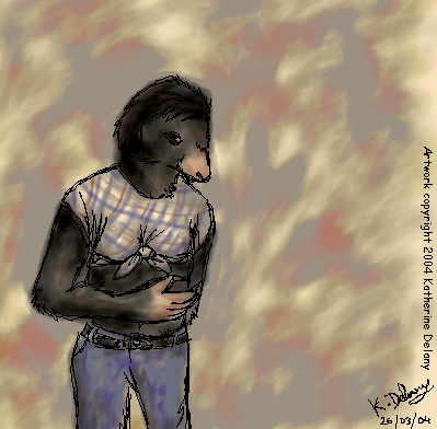 Anthro' Mole wearing a knotted shirt, against blurry background