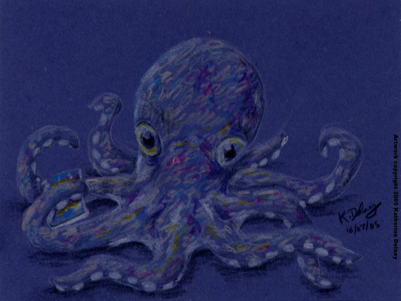 Purple Octopus with a CD in one tentacle