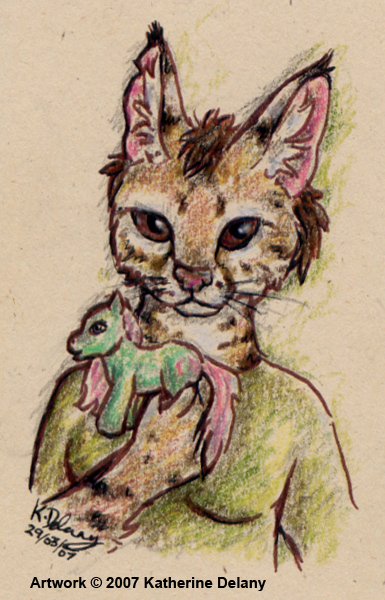 Anthro spotted cat holding green My Little Pony in front of her