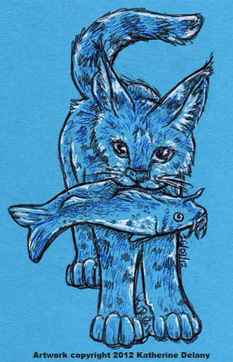 Spotted cat with large tufted ears is standing with a plump catfish in her mouth. Done in black and blue on bright blue, with white edging.