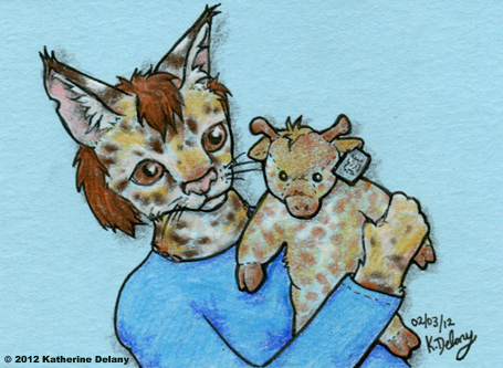 Spotted cat in a long-sleeved blue shirt, holding a plush giraffe that has a rectangular metal ear tag