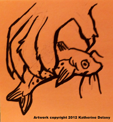 Furry hand with curved claws grabbing a whiskered fish. Black outline on orange background.