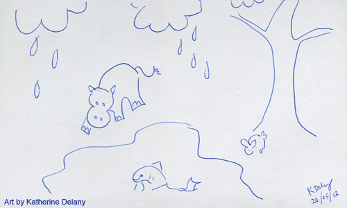 Rained on hippo, a small rabbit under a tree, and a whiskered fish leaping out of water. Blue outline on white.