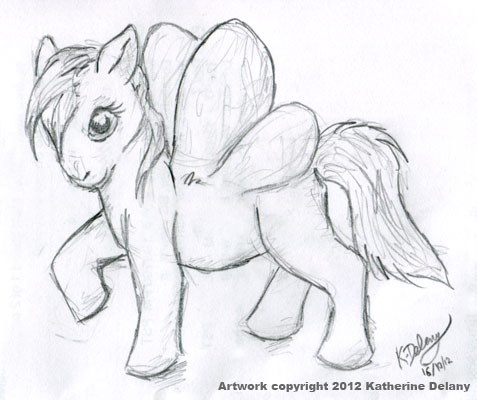 Pony with round butterfly-like wings. She's standing lightly, one front hoof lifted.