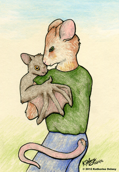 Anthropormorphic mouse, back to the viewer, with a toddler-aged brown bat in his arms