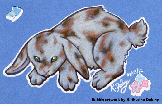 Brown and cream-patched rabbit with green eyes. White-outlined against blue.