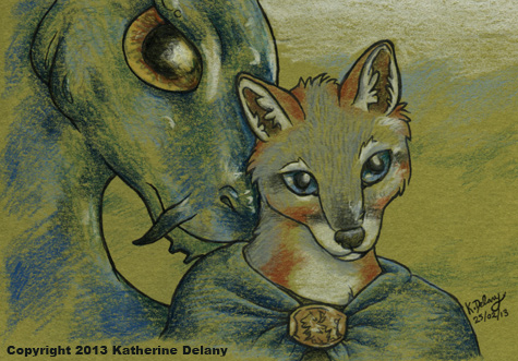 Anthro Gray Fox in a green cloak in front of a whiskered blue dragon.