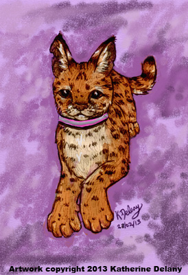 Tall-eared spotted cat wearing a collar. Background is mottled purple.