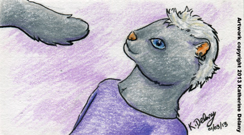 Anthro grey mink with short white hair, wearing a purple shirt.