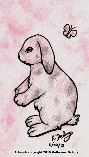 Lop-eared rabbit sitting. Above is a small butterfly. Background is mottled light pink.