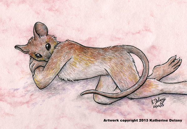 Anthro mouse, lying with her nose hidden behind her arm. She has grey-brown fur with yellow edging to with on her sides and legs. Background is mottled light pink with grey-vilet shadows.