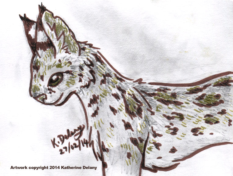 Profile of a spotted cat with large, tufted ears, standing with a slight smile. Outline is brown, shading is pencil grey, spots are brown with gold and thinner black strokes.