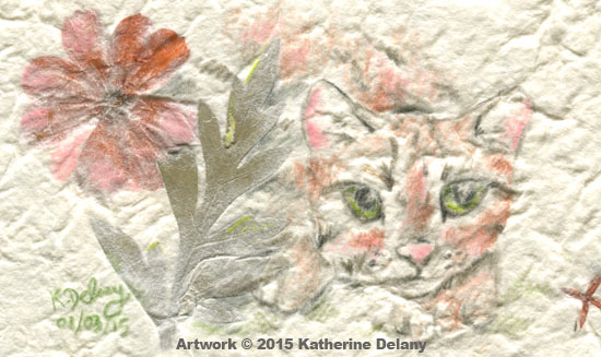 A Rusty-spotted Cat with bright green eyes looks out beside a fern-like leaf and orangey-pink flower. The background paper is greyish textured.