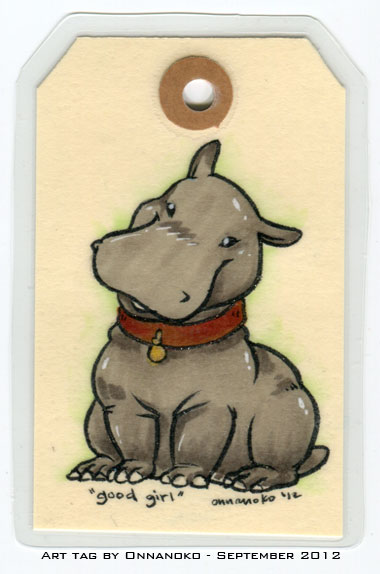 Sitting hippo in brown collar with round gold tag. Outlines are glittery.