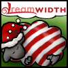 Candy-cane-striped Dreamsheep with Santa hat